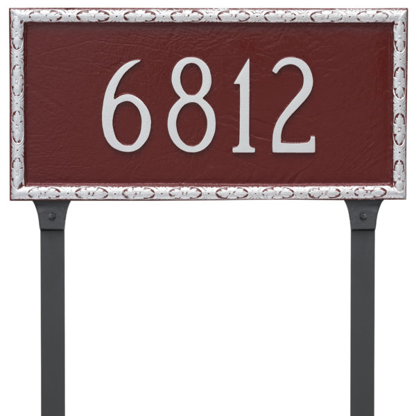 Jefferson Rectangle One Line Address Sign Plaque with Lawn Stakes