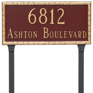 Jefferson Rectangle Two Line Address Sign Plaque with Lawn Stakes