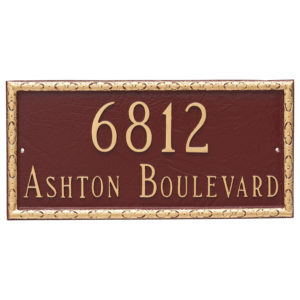 Jefferson Rectangle Two Line Address Sign Plaque