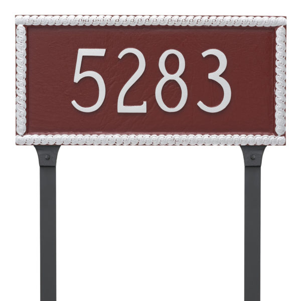 Harrison Rectangle One Line Address Sign Plaque with Lawn Stakes