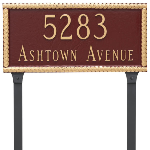 Harrison Rectangle Two Line Address Sign Plaque with Lawn Stakes