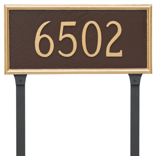 Melilla Rectangle One Line Address Sign Plaque with Lawn Stakes