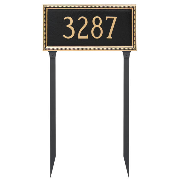Verona Rectangle One Line Address Sign Plaque with Lawn Stakes