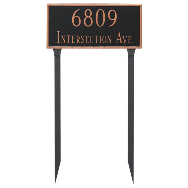 Washington Rectangle Two Line Address Sign Plaque with Lawn Stakes