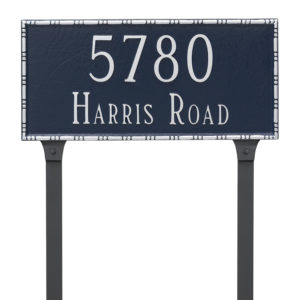 Lincoln Rectangle Two Line Address Sign Plaque with Lawn Stakes