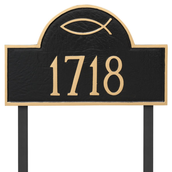 Ichthus Classic Arch Standard Address Sign Plaque with Lawn Stake