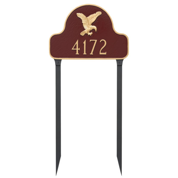 Eagle Arch Address Sign Plaque with Lawn Stakes