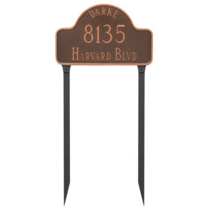 Arch with Name Standard Address Sign Plaque with Lawn Stakes