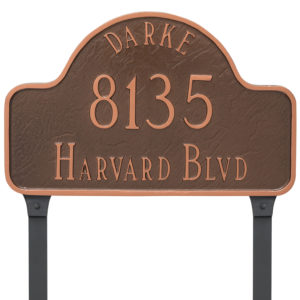 Arch with Name Large Address Sign Plaque with Lawn Stakes