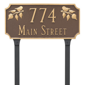 Camden Ivy Two Line Address Sign Plaque with Lawn Stakes