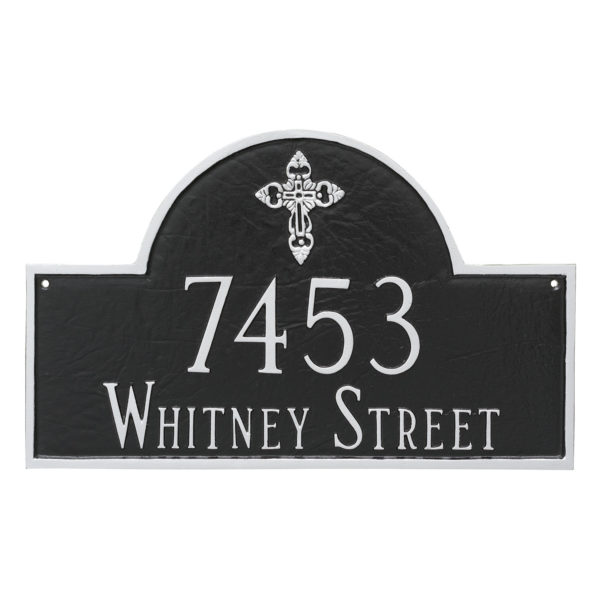 Classic Arch with Ornate Cross Address Sign Plaque