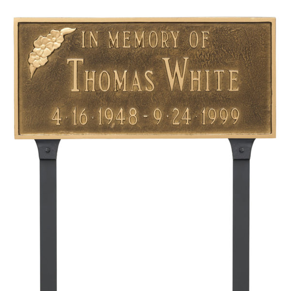 Memorial Plaque with Flower with Lawn Stakes
