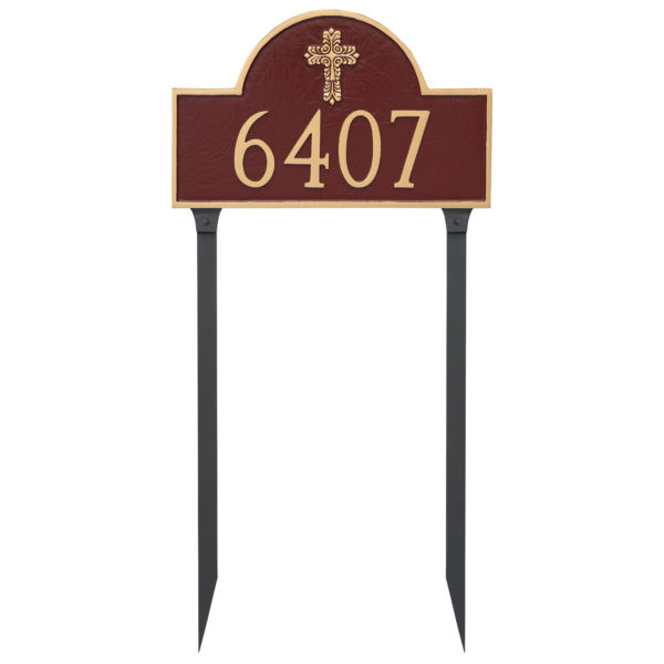 Classic Arch with Fluted Cross Address Sign Plaque with Lawn Stakes