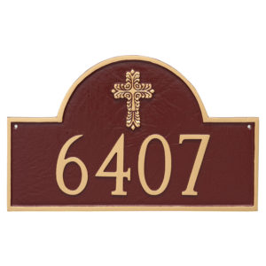 Classic Arch with Fluted Cross Address Sign Plaque