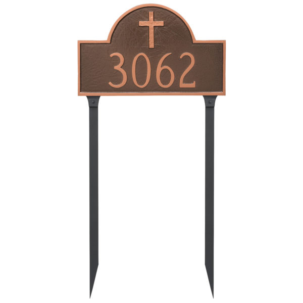 Classic Arch with Rugged Cross Address Sign Plaque with Lawn Stakes