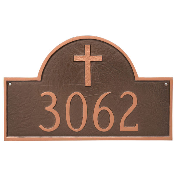 Classic Arch with Rugged Cross Address Sign Plaque