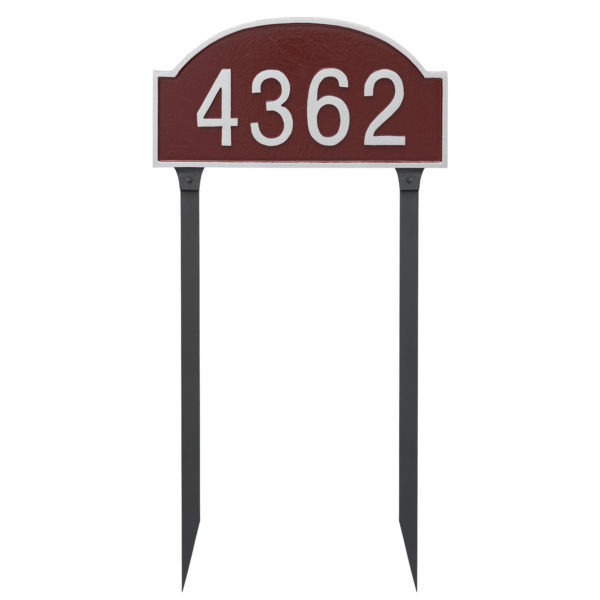 Dover Arch One Line Standard Address Sign Plaque with Lawn Stakes