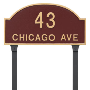 Dover Arch Two Line Standard Address Sign Plaque with Lawn Stakes
