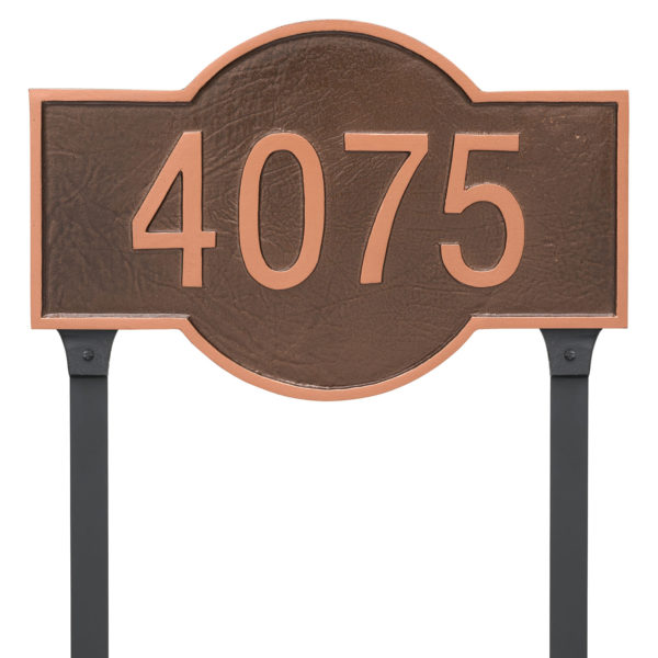 Canterbury Rectangle One Line Standard Address Sign Plaque with Lawn Stake