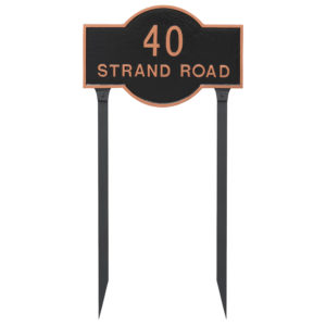 Canterbury Rectangle Two Line Standard Address Sign Plaque with Lawn Stakes
