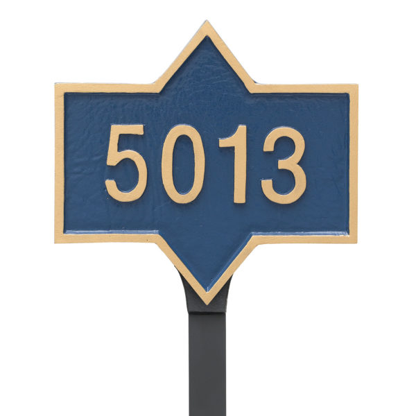 Piedmont Rectangle Petite Address Sign Plaque With Lawn Stake