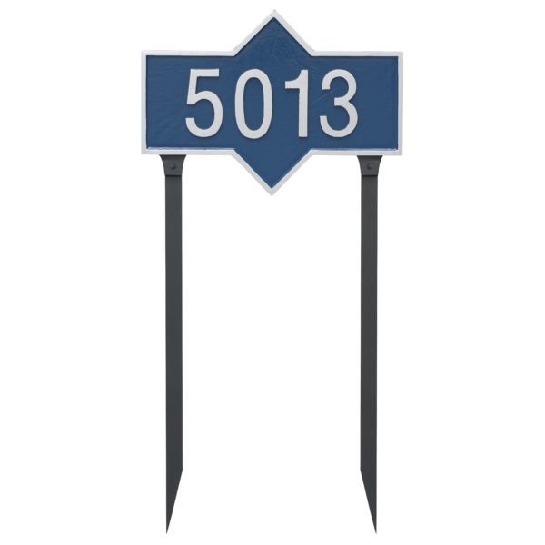 Piedmont Rectangle One Line Standard Address Sign Plaque with Lawn Stake