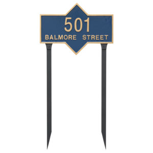 Piedmont Rectangle Two Line Standard Address Sign Plaque with Lawn Stakes