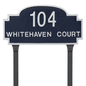 Chesterfield Two Line Standard Address Sign Plaque with Lawn Stakes