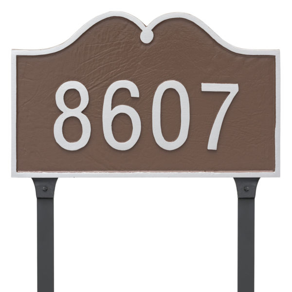 Hillsdale Arch Standard One Line Address Sign Plaque with Lawn Stake