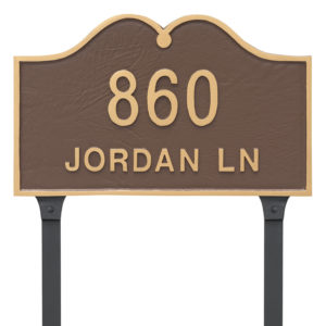 Hillsdale Arch Standard Two Line Address Sign Plaque with Lawn Stake