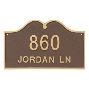 Hillsdale Arch Standard Two Line Address Sign Plaque