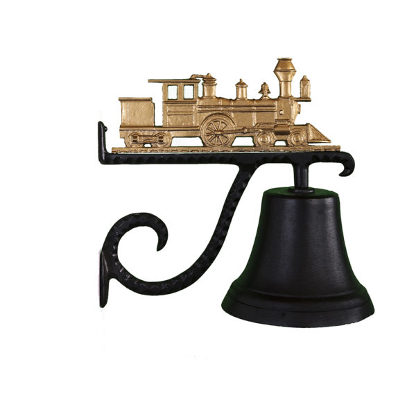 """7.75"""" Diameter Cast Bell with Train Ornament"""