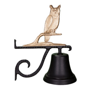 "7.75"" Diameter Cast Bell with Owl Ornament"