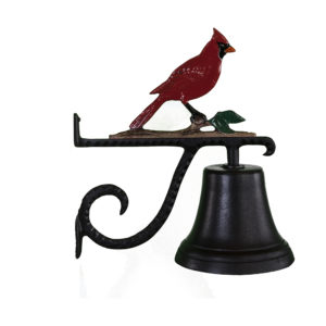 "7.75"" Diameter Cast Bell with Cardinal Ornament"