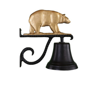 "7.75"" Diameter Cast Bell with Bear Ornament"