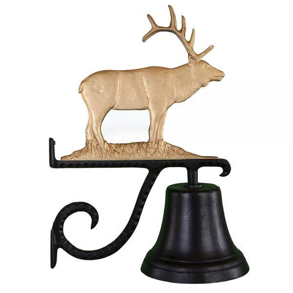 "7.75"" Diameter Cast Bell with Elk Ornament"