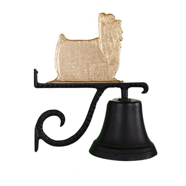 "7.75"" Diameter Cast Bell with Yorkshire Terrier Ornament"