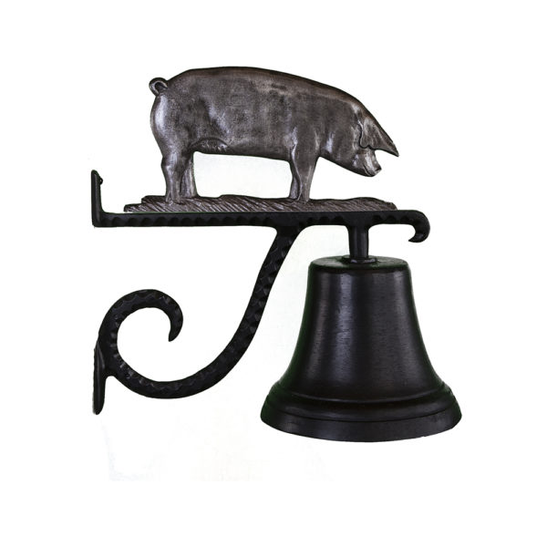 "7.75"" Diameter Cast Bell with Pig Ornament"