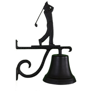 "7.75"" Diameter Cast Bell with Golfer Ornament"