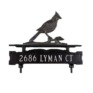 Cast Aluminum Line Lawn Sign with Cardinal Ornament