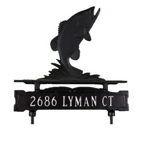 Cast Aluminum One Line Lawn Sign with Bass Ornament