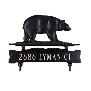 Cast Aluminum One Line Lawn Sign with Bear Ornament