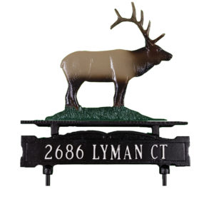 Cast Aluminum One Line Lawn Sign with Elk Ornament