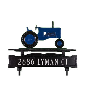 Cast Aluminum One Line Lawn Sign with Tractor Ornament