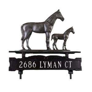 Cast Aluminum One Line Lawn Sign with Mare & Colt Ornament