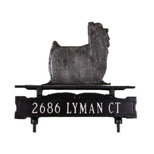 Cast Aluminum One Line Lawn Sign with Yorkshire Terrier Ornament