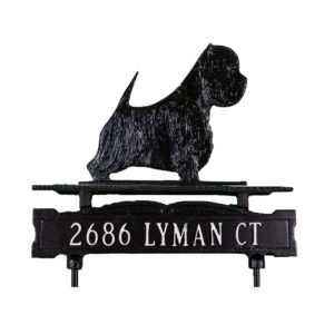 Cast Aluminum One Line Lawn Sign with West Highland Terrier Ornament
