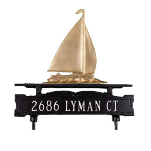 Cast Aluminum One Line Lawn Sign with Sailboat Ornament