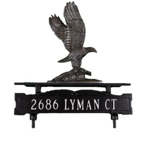 Cast Aluminum One Line Lawn Sign with Eagle Ornament