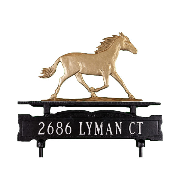 Cast Aluminum One Line Lawn Sign with Horse Ornament